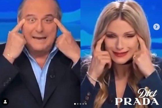 이탈리아 지상파 채널 '카날5'의 시사 풍자 프로그램 '스트리샤 라 노티치아'에서 방송 진행자들이 인종차별적 언행을 해 논란이 일었다. /사진=다이어트 프라다 인스타그램 캡처