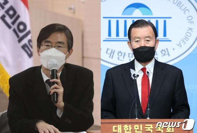 차기 당 대표 선거에 출마하는 국민의힘 조경태(왼쪽), 홍문표(오른쪽) 의원 © 뉴스1