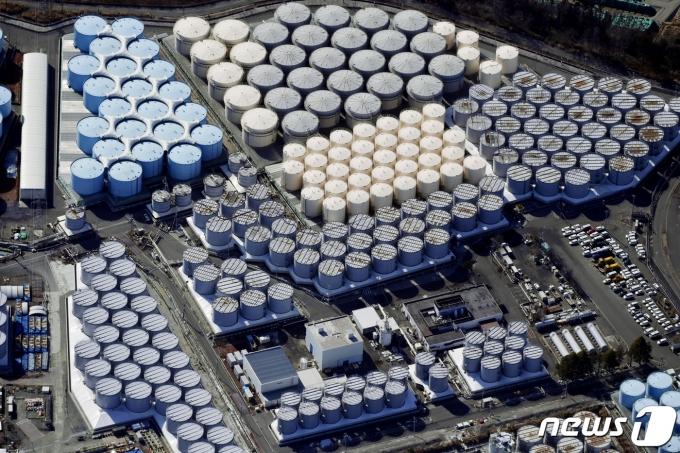 일본 후쿠시마 제1원자력발전소 부지 내의 방사성 오염수 저장탱크들 <자료사진> © 로이터=뉴스1