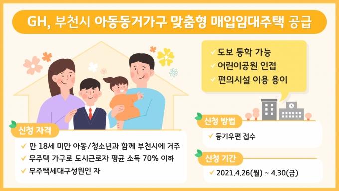 GH(사장 이헌욱)는 아동‧청소년과 함께 살고 있는 저소득 가구의 주거안정을 위해 맞춤형 매입임대주택 입주자를 모집한다고 16일 밝혔다. 사진은 모집 포스터. / 자료제공=GH
