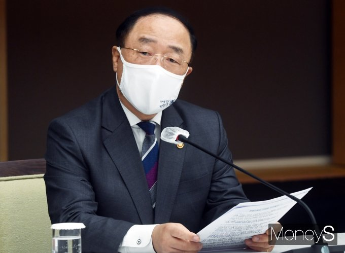 """[머니S포토] 홍남기 """"2050 탄소중립 시나리오 6월말까지 수립중…의견 폭넓게 수렴"""""""