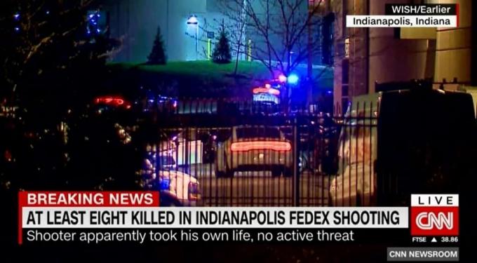 미국 인디애나주 페덱스 물류 시설에서 총격 사건이 벌어져 최소 8명이 사망했다. /사진=CNN방송 캡처