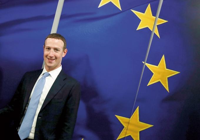 지난해 2월 벨기에 브뤼셀 EU 집행위원회 본부를 방문한 마크 저커버그 페이스북 CEO /사진=로이터
