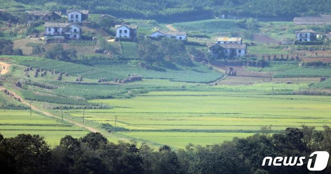 경기도 파주시 접경지역에서 바라본 태풍이 지나간 북한 개풍군 마을. 2020.9.8/뉴스1 © News1 김명섭 기자