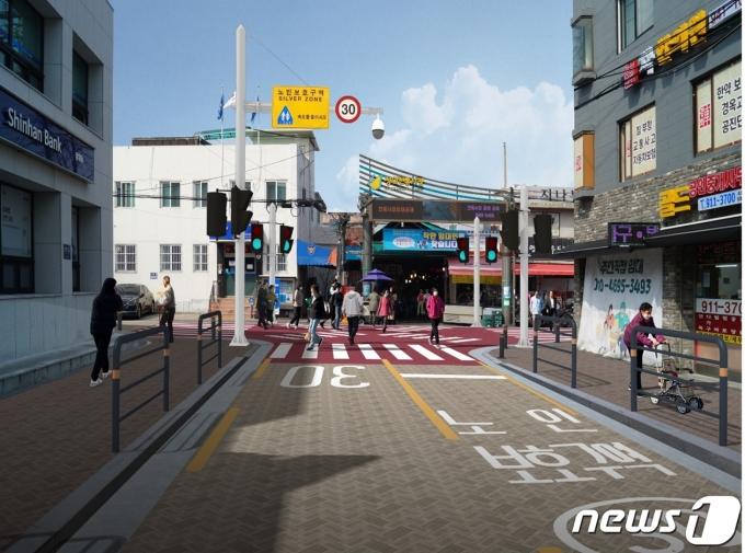 노인보호구역으로 지정되는 서울시 성북구 장위전통시장 입구의 모습.(서울시 제공)© 뉴스1