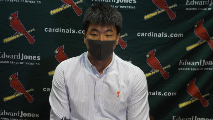 김광현은 시즌 첫 등판 경기를 마친 후 아쉬워했다.(화상 인터뷰 캡처) © 뉴스1