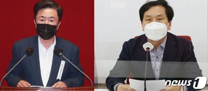 국민의힘 김태흠 의원(왼쪽)과 김기현 의원© 뉴스1