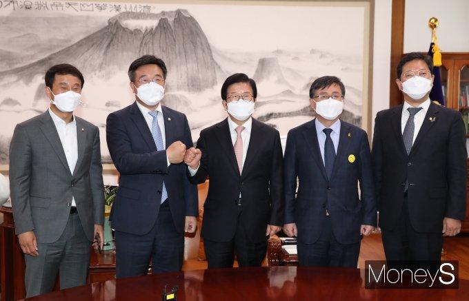 [머니S포토] 박병석 의장 예방한 더불어민주당 원내대표단