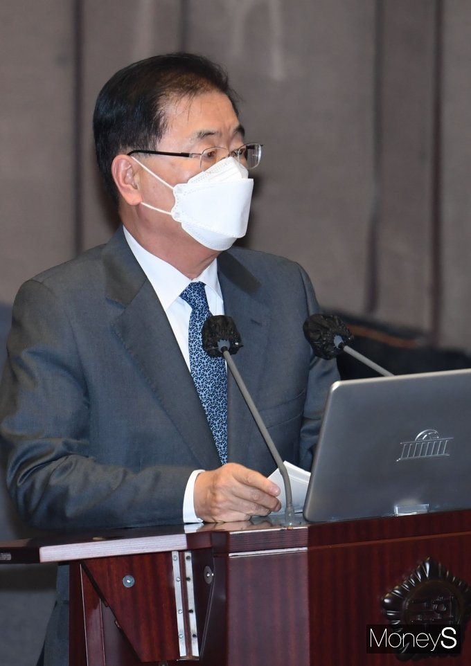 [머니S포토] 대정부질문 참석한 정의용 외교부 장관