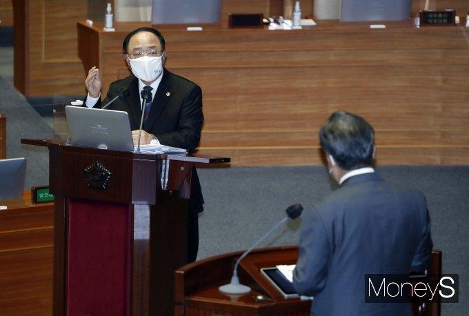 [머니S포토] 본회의 출석한 홍남기 국무총리 직무대행