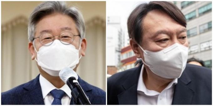 이재명 경기지사(왼쪽)와 윤석열 전 검찰총장이 대선 후보 적합도 조사에서 양강 구도를 형성했다./사진=임한별 기자