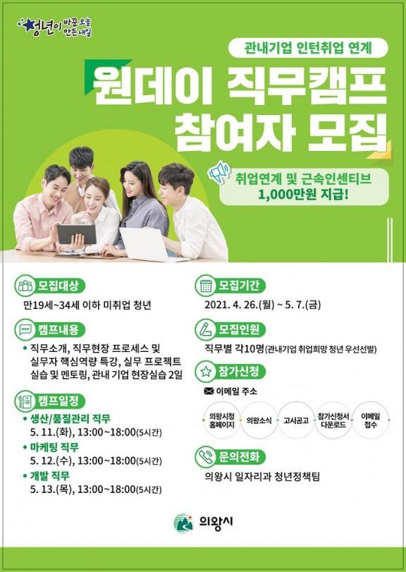 의왕시(시장 김상돈)에서 청년들의 일자리 창출을 위한 관내기업 인턴취업 연계 프로그램'원데이 직무캠프'에 참가할 미취업 청년을 오는 26일부터 모집한다고 19일 밝혔다. / 사진제공=의왕시