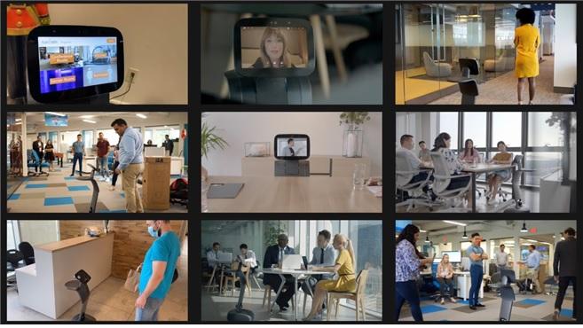 2021 월드 IT 쇼에 직접 참석하지 못하는 해외 바이어들을 위해 영상통화로봇이 도입된다. 해외 바이어는 전시장에 배치된 영상통화로봇에 접속해 전시회 참가기업을 실시간으로 방문하며 상담할 수 있다. 사진은 영상통화로봇 활용 예시.  /사진=한국무역협회