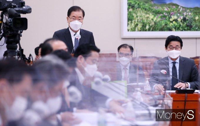 """[머니S포토] 외교부 정의용 """"日 원전 오염수 방출, 필요시 사법 대응 검토"""""""