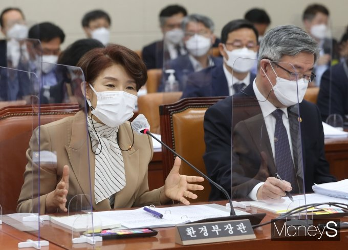"""[머니S포토] 한정애 """"정부, 후쿠시마 오염수 방류 착실하게 대비…환경부 역할은 제한적"""""""