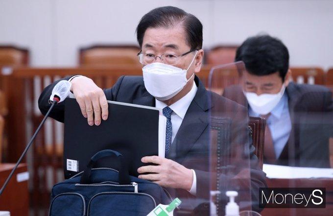 [머니S포토] 국회 긴급현안보고 출석한 '정의용'