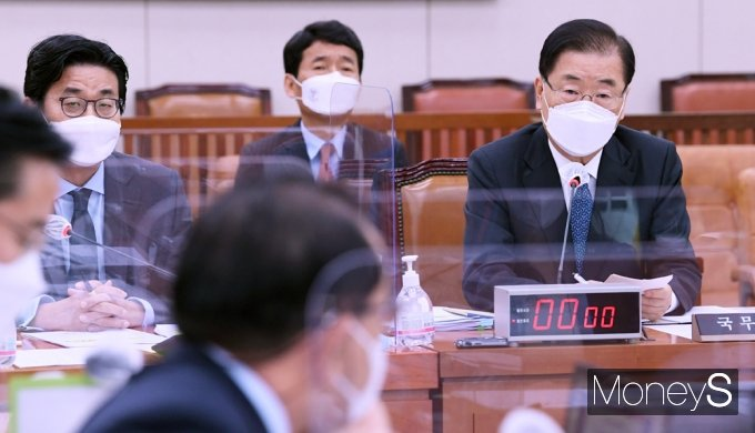 [머니S포토] 후쿠시마 오염수 방출 관련 질의받는 '정의용'