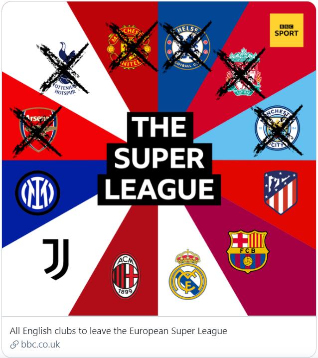 잉글랜드 프리미어리그 클럽들이 21일 오전(한국시각) 슈퍼리그 참가를 철회 방침을 전했다. /사진=BBC 공식 트위터