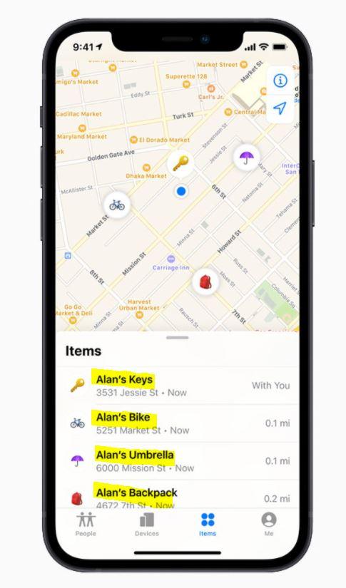 기기와 연결된 에어태그는 'Find My' 앱 내 물품(Items) 탭에 표시돼 지도에서 해당 물품의 현재 또는 마지막 위치를 볼 수 있다. /사진제공=애플