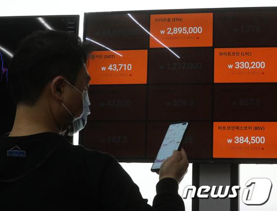 21일 서울 강남구 빗썸 강남고객센터 전광판에 가상화폐 시세가 표시되고 있다./사진=뉴스1