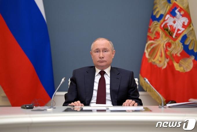 기후정상회의에 영상으로 참석중인 블라디미르 푸틴 러시아 대통령 © 로이터=뉴스1