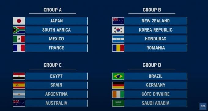 한국은 B조에, 일본은 A조에 각각 속했다.(FIFA 유튜브 캡처)© 뉴스1