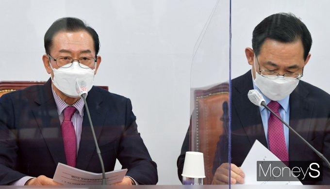 """[머니S포토] 국힘 이종배 """"문재인 대통령 편향된 외교 행보, 국민의 건강까지 위협"""""""