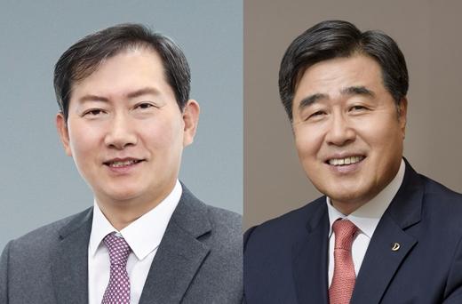 김형 대우건설 사업대표 예정자(오른쪽)와 정항기 관리대표 예정자(왼쪽). /사진제공=대우건설