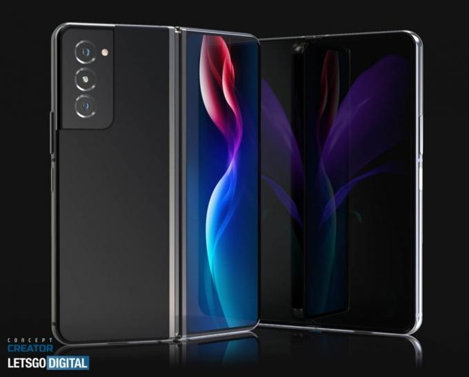 올해 출시 예정인 삼성전자의 폴더블폰 '갤럭시Z폴드3'에 S펜을 보관할 수 있는 수납공간이 마련될 것으로 보인다. 사진은 갤럭시Z폴드3 렌더링이미지. /사진제공=렛츠고디지털