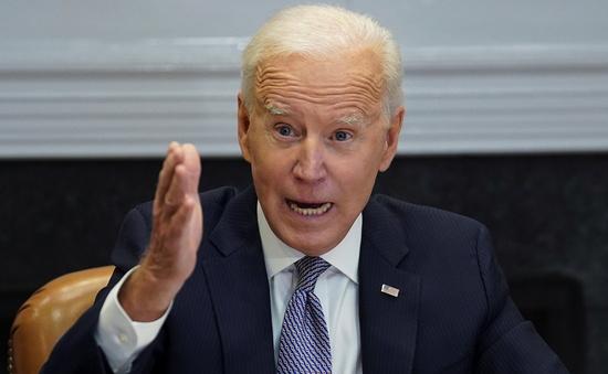 조 바이든 미국 대통령이 미국 주요 기업들과 삼성전자·TSMC 등 글로벌 반도체 기업들이 참여한 '반도체 CEO 서밋' 화상회의에서 발언하는 모습 /사진=로이터