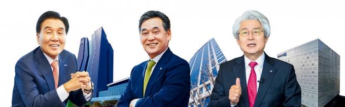 지방 금융지주사가 인터넷전문은행 설립을 앞두고 고심하고 있다. (왼쪽부터) 김지완 BNK금융 회장, 김기홍 JB금융 회장, 김태오 DGB금융 회장 /사진=각사