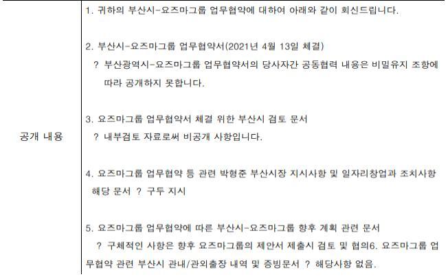 요즈마그룹 MOU 관련 부산시 정보공개 답변서/사진=부산경남미래정책