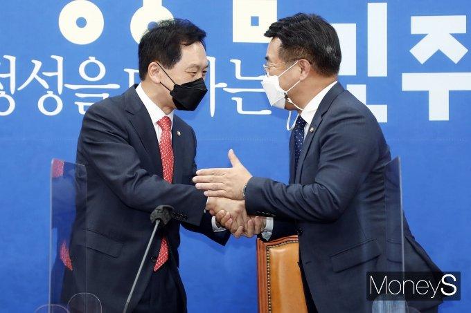 [머니S포토] 김기현 원내대표, 윤호중 원내대표 예방