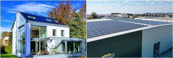 독일 바이에른주 주거용 태양광과 독일 고객사 공장 지붕 태양광. /사진=한화큐셀