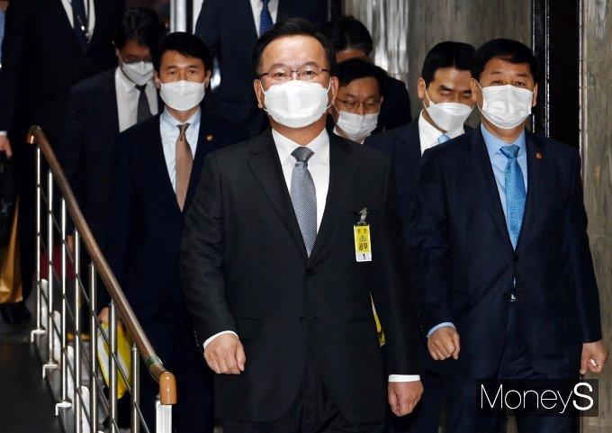 [머니S포토] 김부겸 국무총리 후보자, 인사청문회 출석