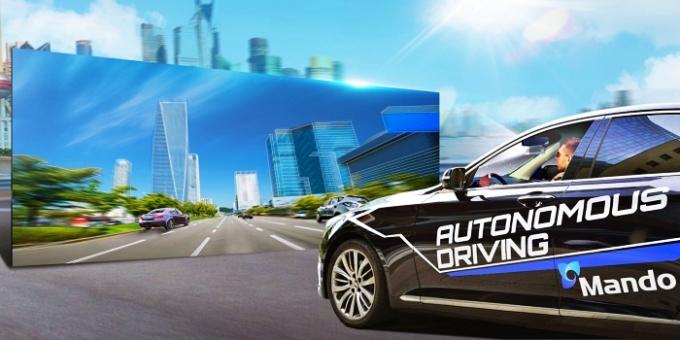 만도 자율주행차 '하키'가 3D VR을 비전 센싱하고 있다 /사진제공=만도