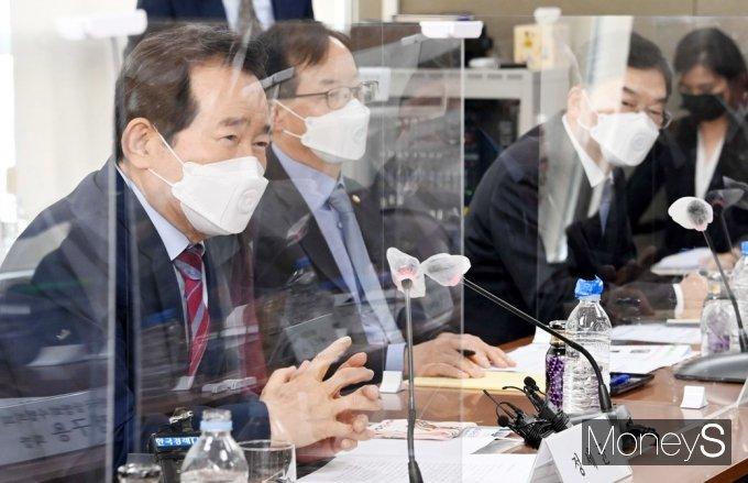 [머니S포토] 상장회사협의회 찾은 정세균 전 총리, 인사말