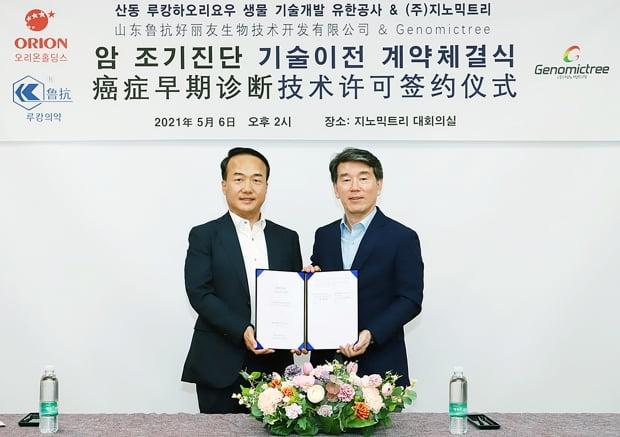왼쪽부터 백용운 산둥루캉하오리요우생물기술개발유한공사 대표와 안성환 지노믹트리 대표./사진=지노믹트리