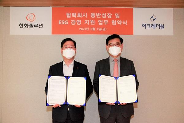 안무용 한화솔루션 지원부문장(왼쪽)과 이진옥 이크레더블 대표이사가 ESG경영 확산을 위한 동반성장 MOU를 체결한 후 기념촬영을 하고 있다. /사진=한화솔루션