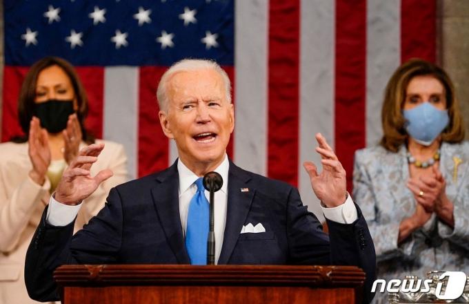 조 바이든 미국 대통령이 미국 연방의회에서 합동연설을 하고 있다.  © AFP=뉴스1