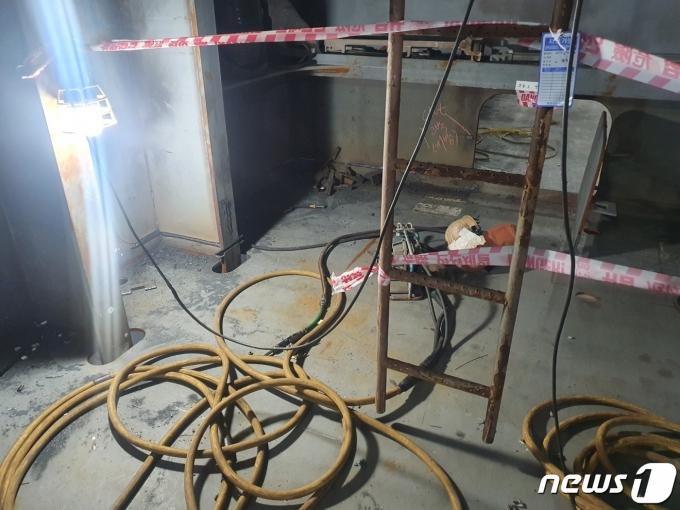 사고 현장 사진. (현대중공업 노동조합 제공)© 뉴스1