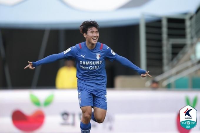 수원 삼성의 공격수 정상빈. (한국프로축구연맹 제공) © 뉴스1
