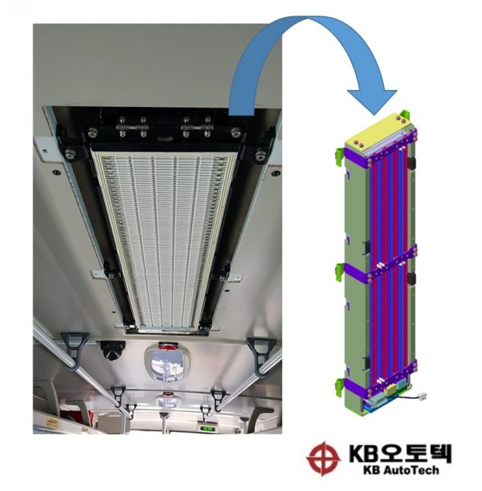 케이비오토텍의 버스용 고전압 공기청정기 장착 모습. / 사진=케이비오토텍
