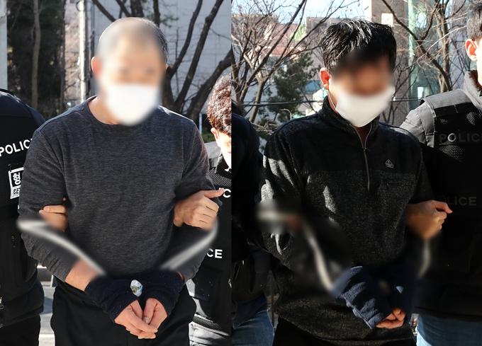 지난 1월 대림동에서 남녀 2명을 살해한 혐의를 받는 중국 동포 A씨에게 무기징역이 선고됐다. 피해자들을 폭행한 B씨에게는 징역 2년이 선고됐다. 사진은 지난 1월 영장심사를 받으러 가는 A씨와 B씨. /사진=뉴스1