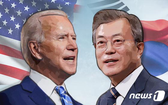 조 바이든 미국 대통령, 문재인 대통령.© News1 최수아 디자이너