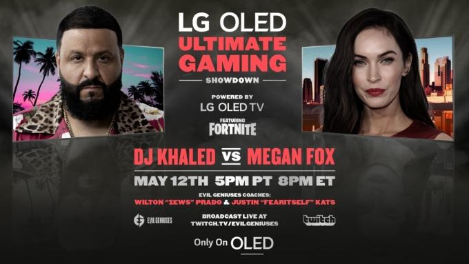 LG전자가 12일(현지시간) 미국에서 배우 매간 폭스와 음악 프로듀서 DJ 칼리드가 게임대결을 펼치는 영상을 공개한다. / 사진=LG전자