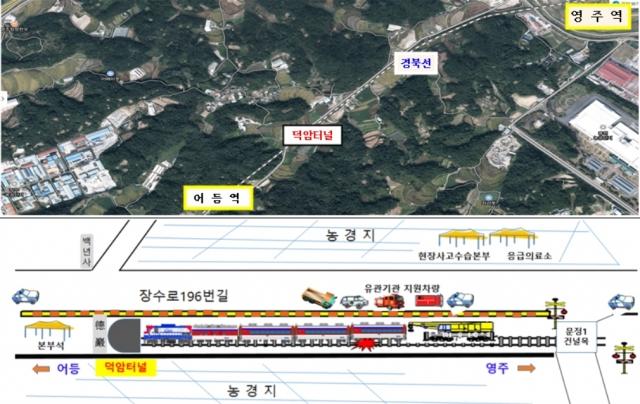 철도 탈선사고 실제훈련 배치도 및 전경. /사진제공=국토교통부
