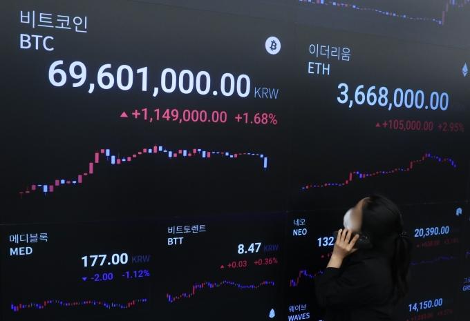 인플레이션(물가상승) 공포가 암호화폐(가상화폐) 시장까지 영향을 미쳤다. 암호화폐 대장주격인 비트코인이 급락했다./사진=뉴시스