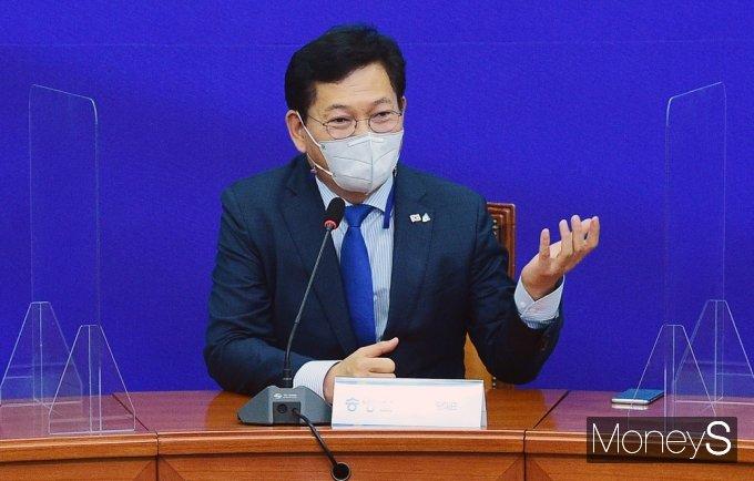[머니S포토]  민주당 선배들 앞 발언하는 송영길 대표