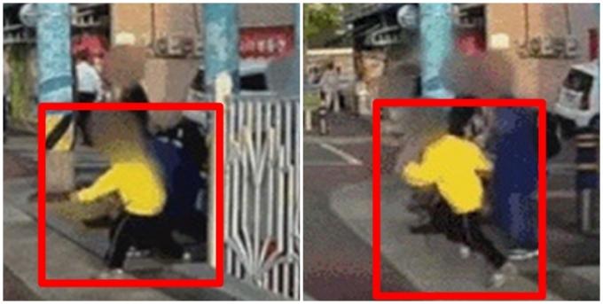 스쿨존에서 차량이 움직이자 도로 쪽으로 뛰어드는 아이들을 보며 운전자는 놀랄 수밖에 없었다. /사진=유튜브 캡처